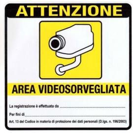 Cartello adesivo area videosorveglianza 16*16