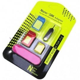 Adattatore Nano Micro Sim 5 in 1+ graffetta iphone + Lima