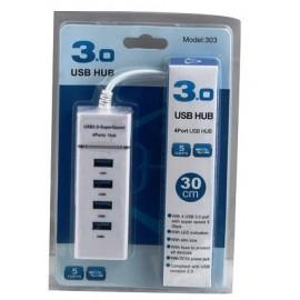 HUB USB 4 PORTE USB3.0 BIANCO
