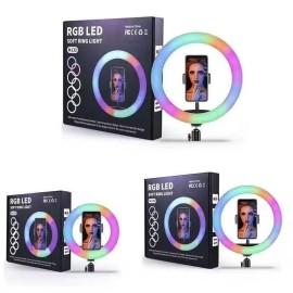 Lampada ad anello RGB multicolor (33 см) MJ33 per riprese fotografiche e video senza treppiede
