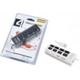 HUB USB 4 PORTE CON INTERRUTTORI BIANCO
